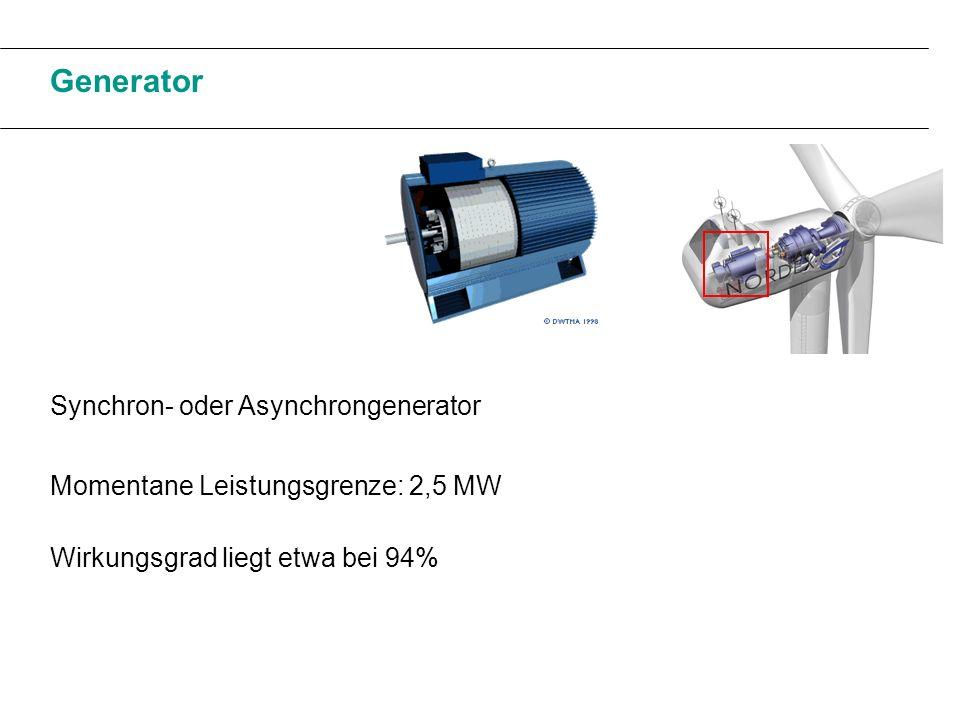 Generator Synchron- oder Asynchrongenerator