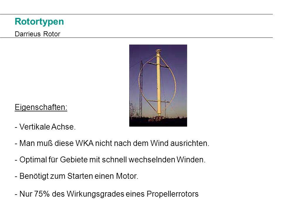 Rotortypen Eigenschaften: - Vertikale Achse.