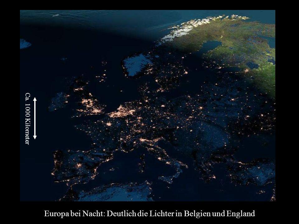 Europa bei Nacht: Deutlich die Lichter in Belgien und England