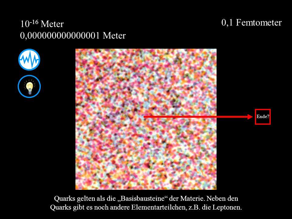 0,1 Femtometer 10-16 Meter 0,000000000000001 Meter