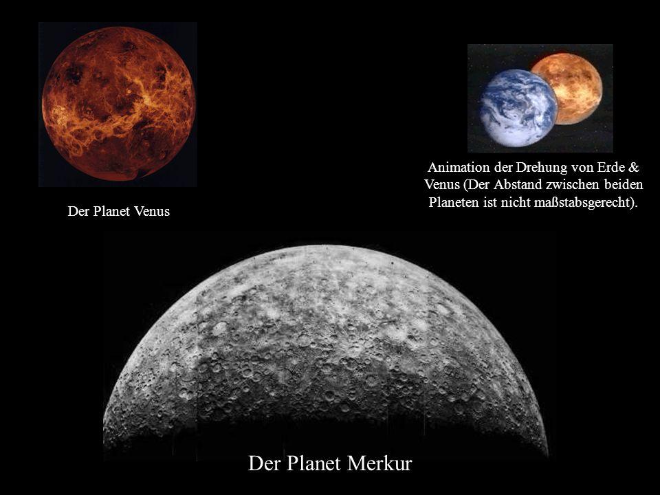 Animation der Drehung von Erde & Venus (Der Abstand zwischen beiden Planeten ist nicht maßstabsgerecht).