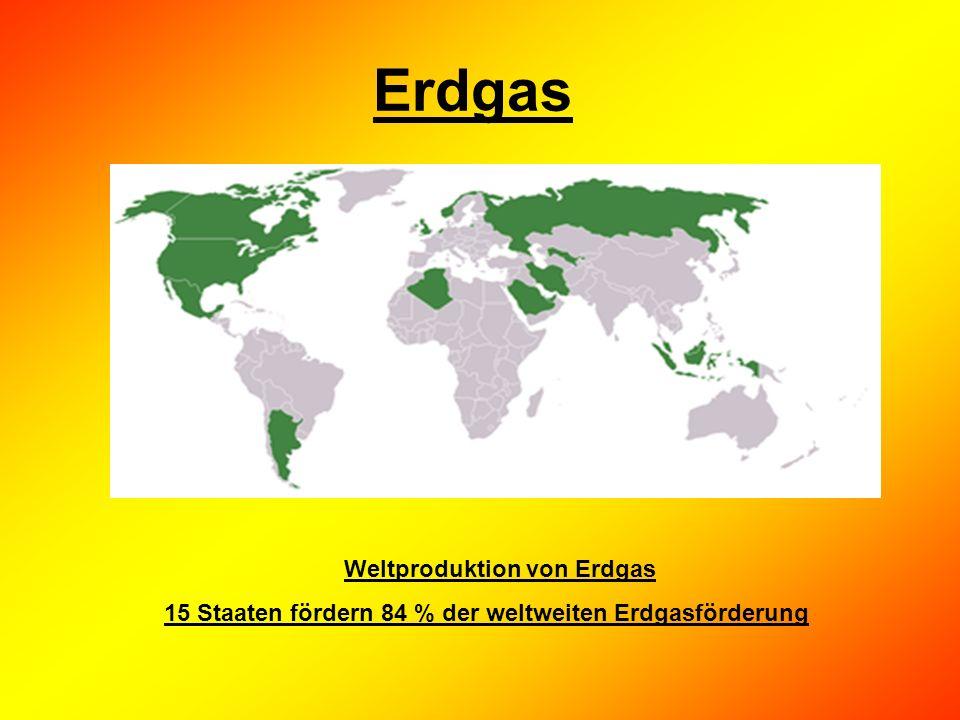 Erdgas Weltproduktion von Erdgas