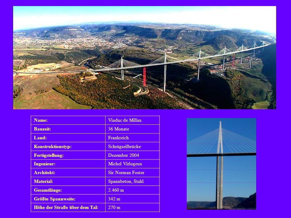 Name: Viaduc de Millau. Bauzeit: 36 Monate. Land: Frankreich. Konstruktionstyp: Schrägseilbrücke.