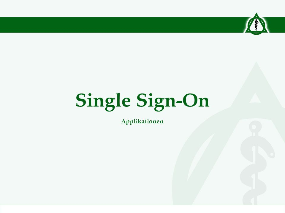 Single Sign-On Applikationen