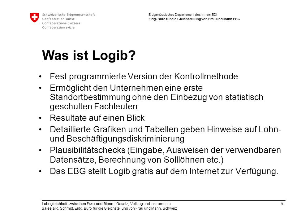 Was ist Logib Fest programmierte Version der Kontrollmethode.