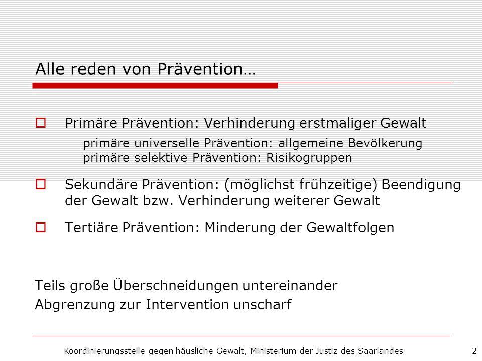 Alle reden von Prävention…