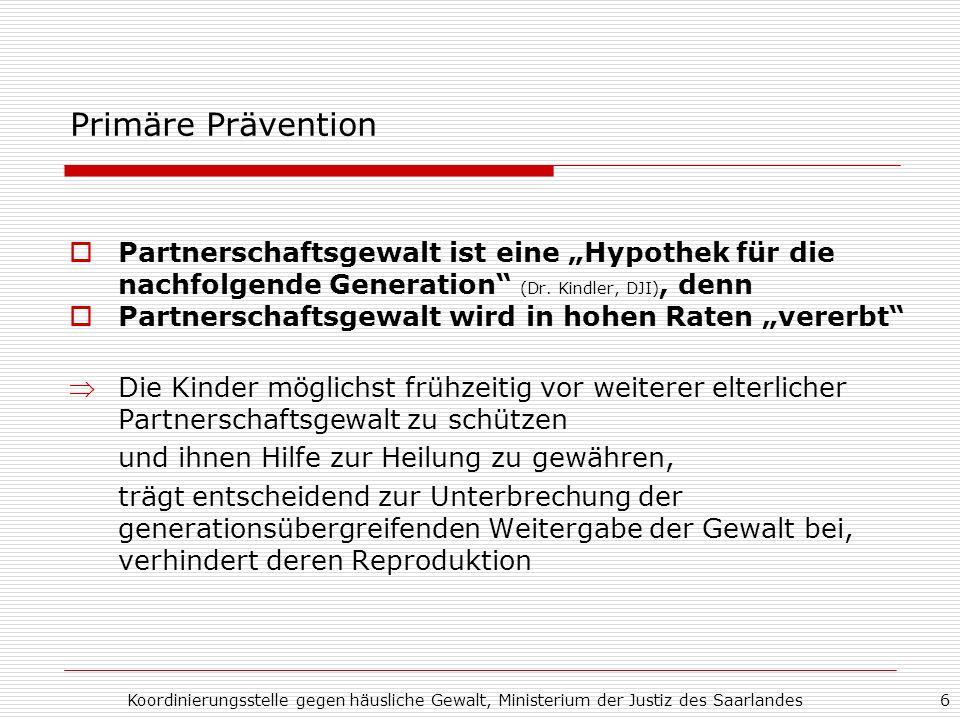 """Primäre Prävention Partnerschaftsgewalt ist eine """"Hypothek für die nachfolgende Generation (Dr. Kindler, DJI), denn."""