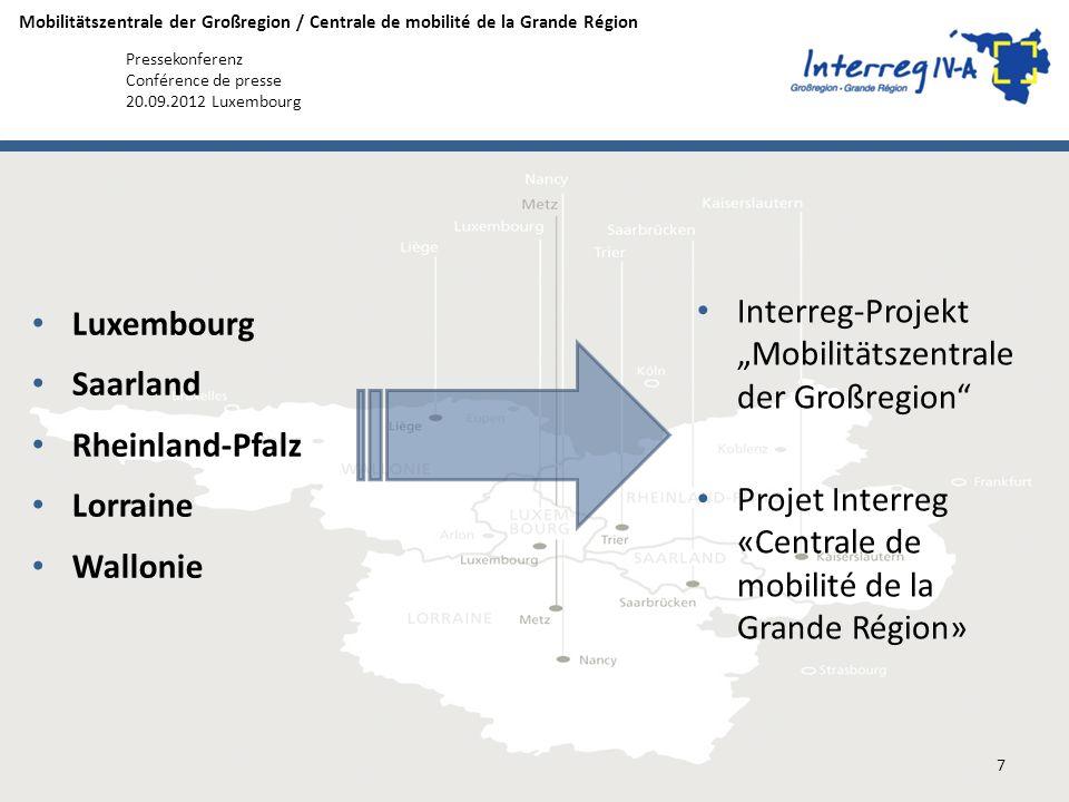 """Interreg-Projekt """"Mobilitätszentrale der Großregion"""