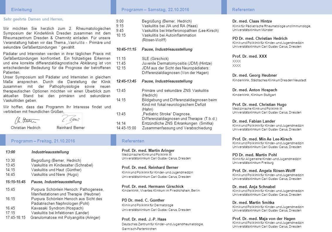 Einleitung Programm – Samstag, 22.10.2016 Referenten