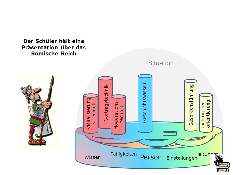Der Schüler hält eine Präsentation über das Römische Reich