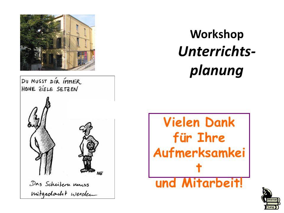 Workshop Unterrichts- planung