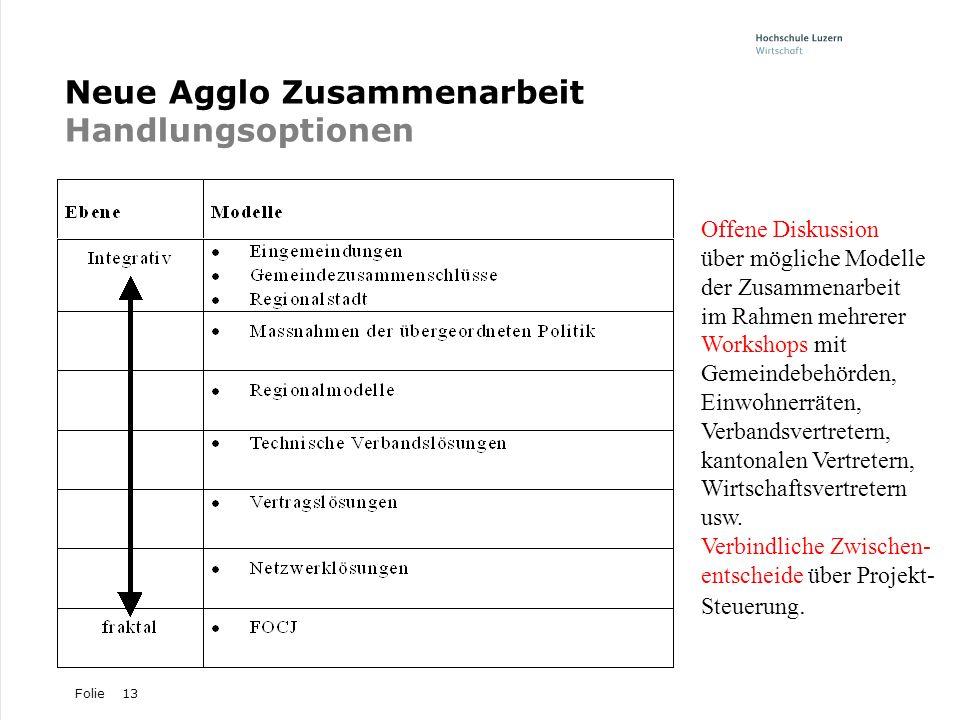 Neue Agglo Zusammenarbeit Handlungsoptionen