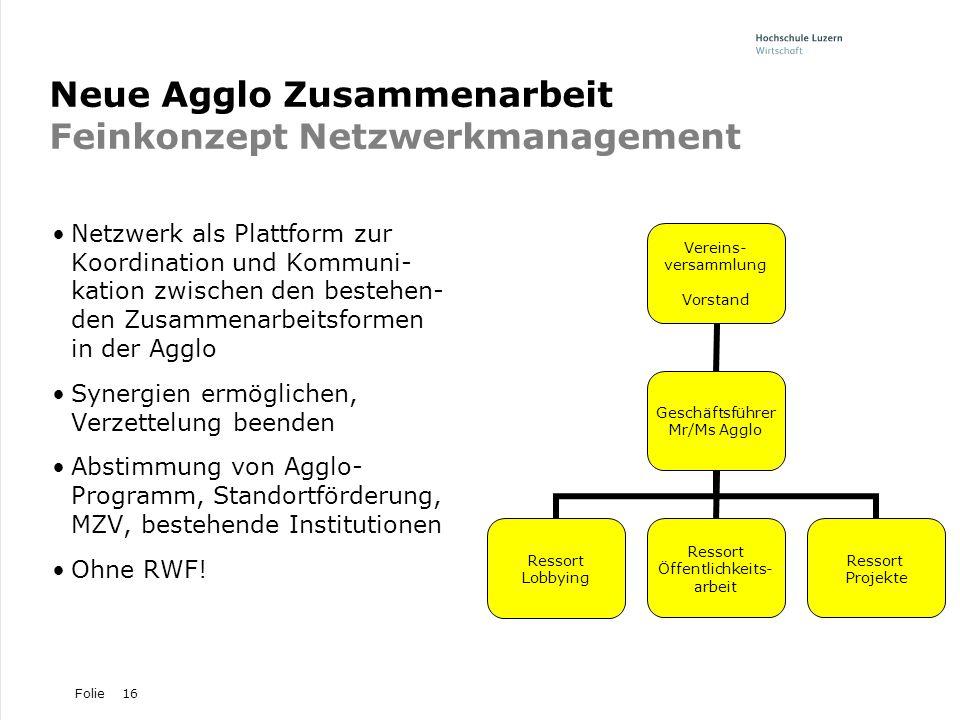 Neue Agglo Zusammenarbeit Feinkonzept Netzwerkmanagement