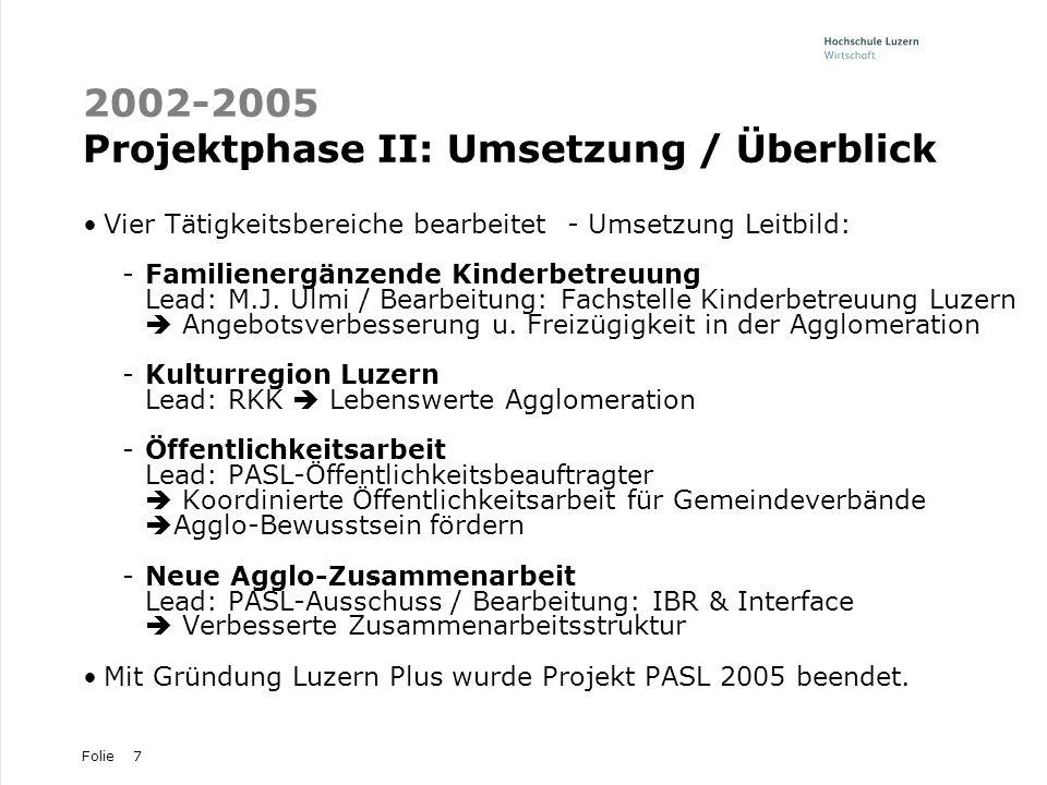 2002-2005 Projektphase II: Umsetzung / Überblick