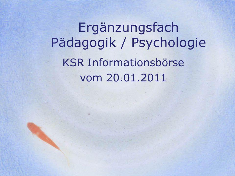 Ergänzungsfach Pädagogik / Psychologie