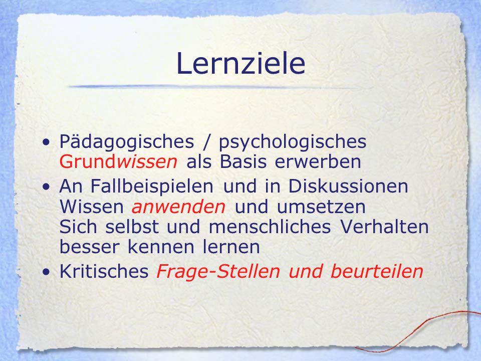 Lernziele Pädagogisches / psychologisches Grundwissen als Basis erwerben.