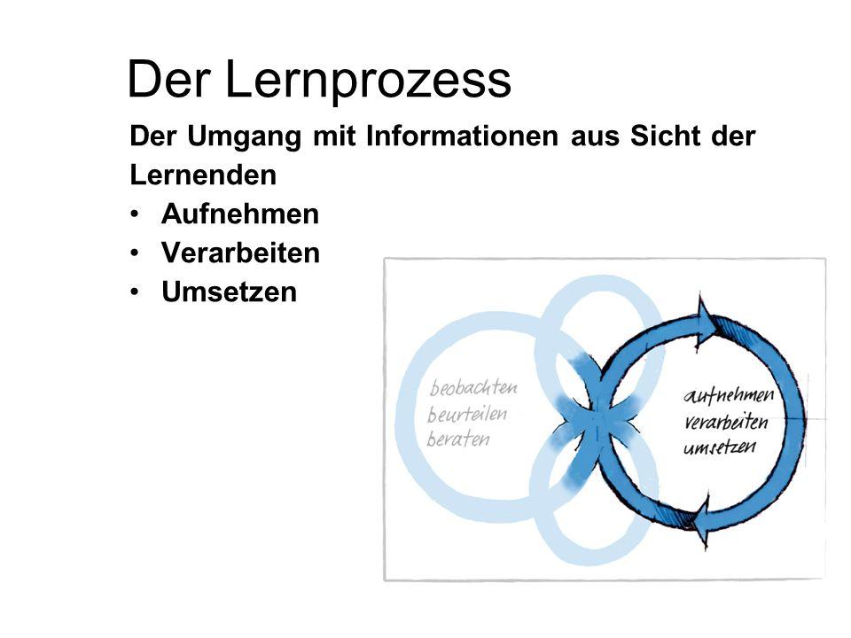 Der Lernprozess Der Umgang mit Informationen aus Sicht der Lernenden