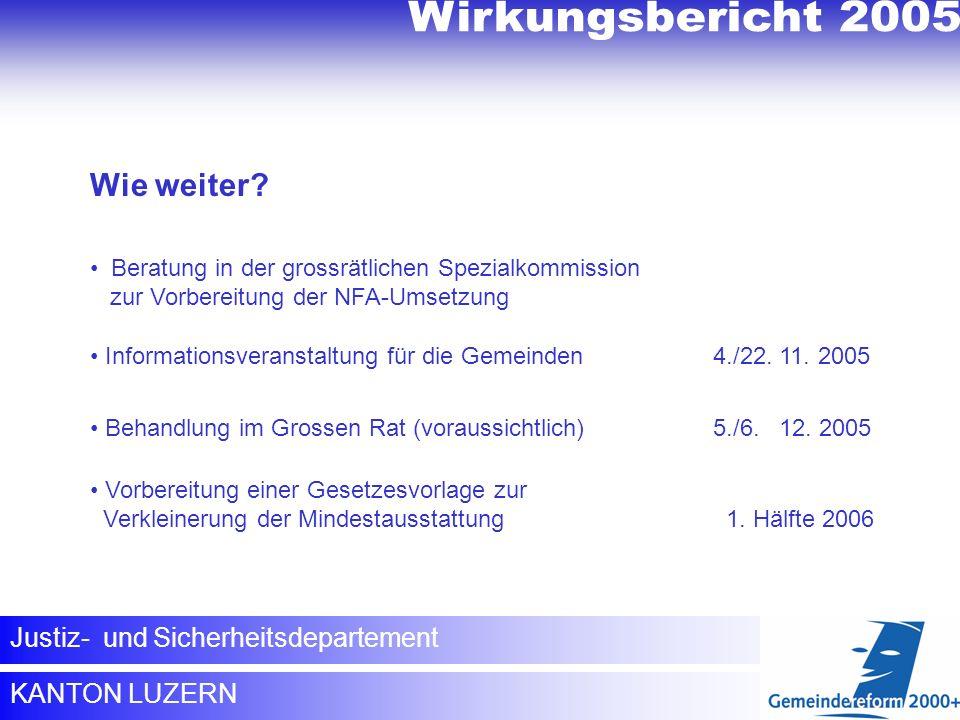 Wirkungsbericht 2005 Wirkungsbericht 2005 Wie weiter