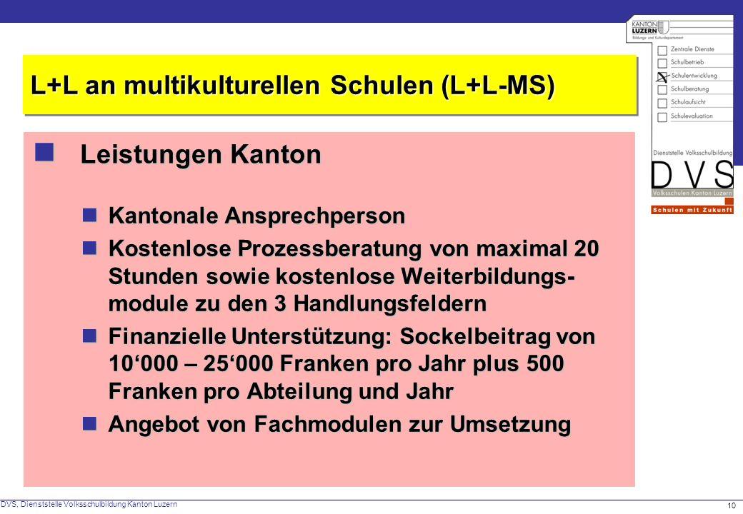  Leistungen Kanton L+L an multikulturellen Schulen (L+L-MS)