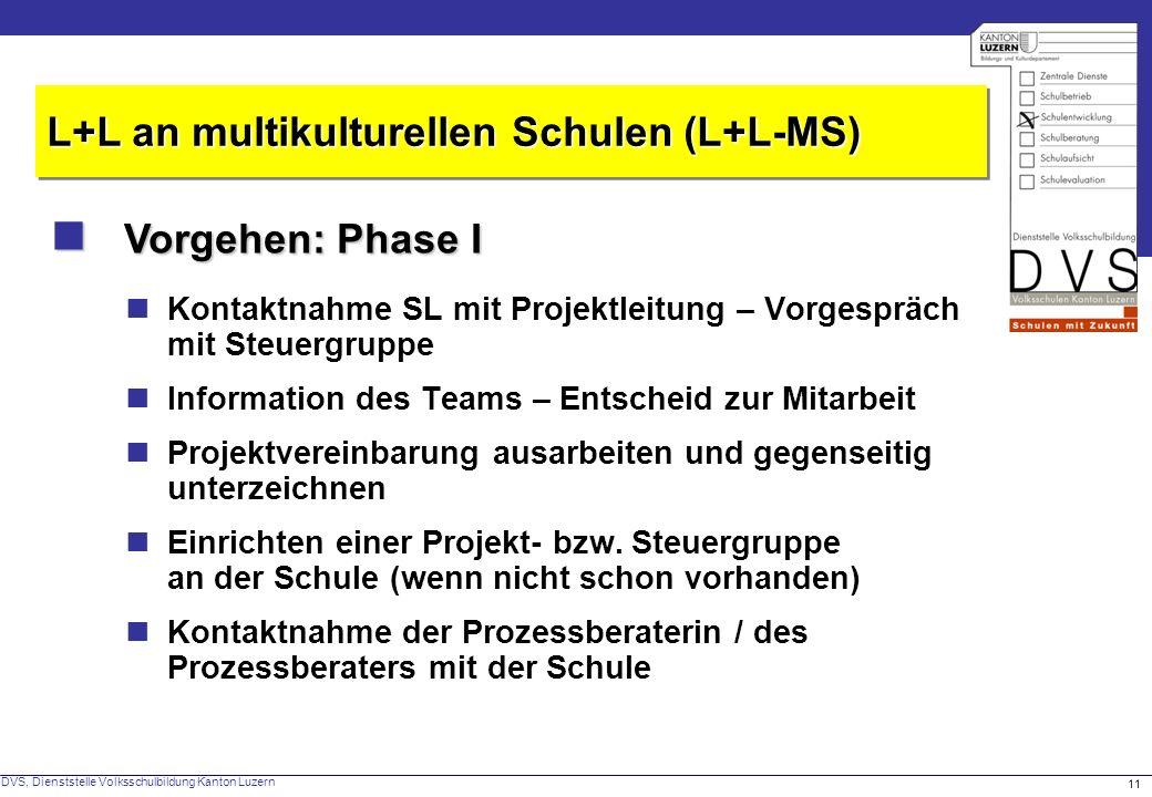  Vorgehen: Phase I L+L an multikulturellen Schulen (L+L-MS)