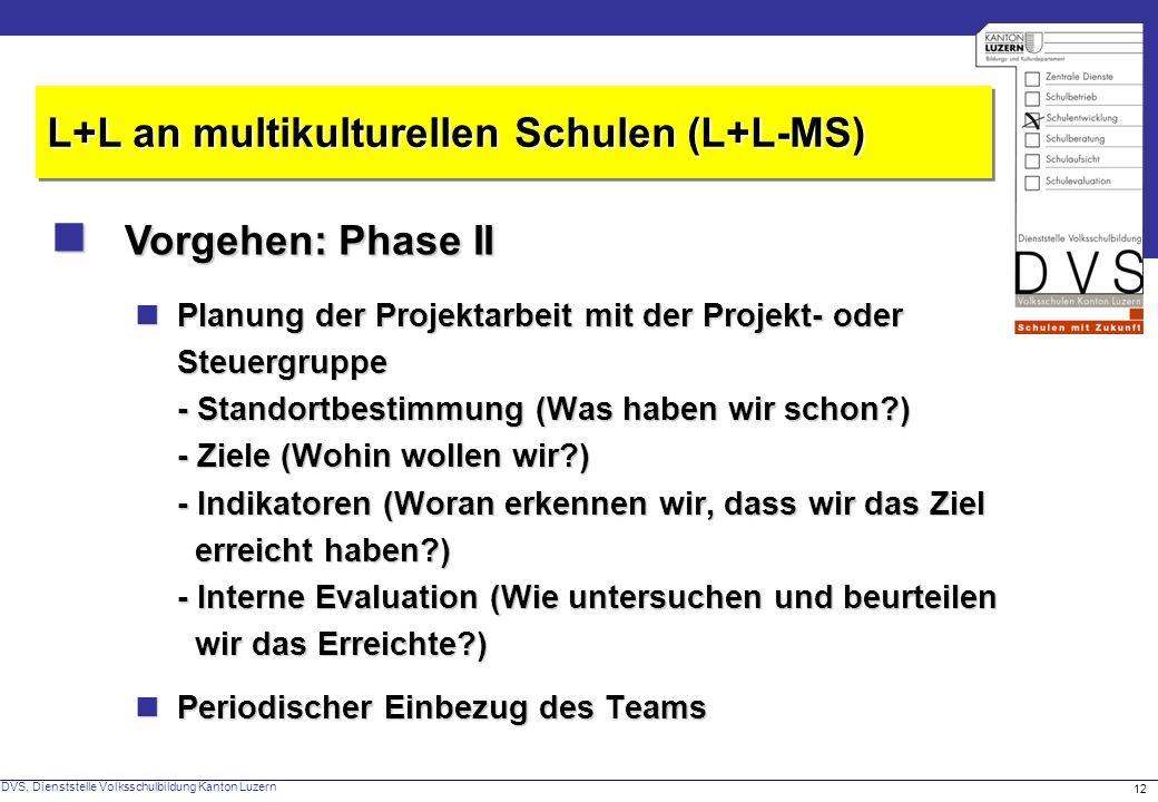  Vorgehen: Phase II L+L an multikulturellen Schulen (L+L-MS)
