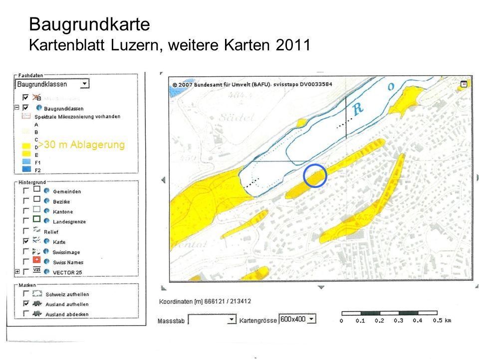 Baugrundkarte Kartenblatt Luzern, weitere Karten 2011