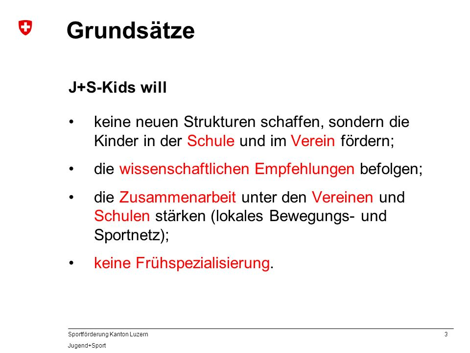 Grundsätze J+S-Kids will