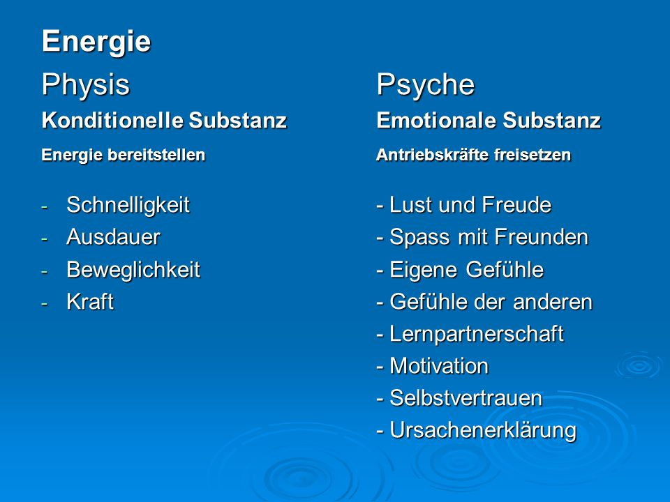 Energie Physis Psyche Konditionelle Substanz Emotionale Substanz