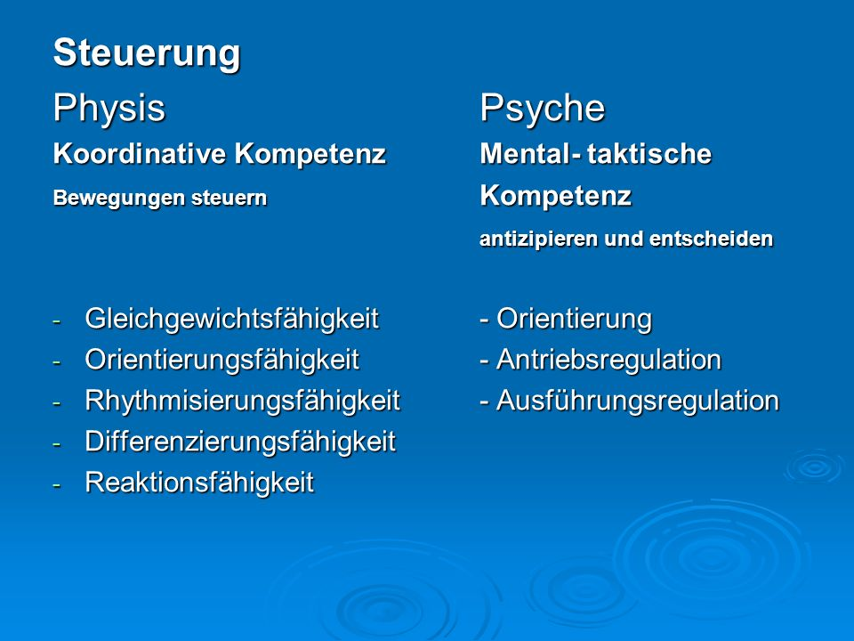 Steuerung Physis Psyche Koordinative Kompetenz Mental- taktische