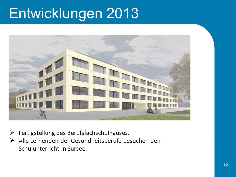 Entwicklungen 2013 Fertigstellung des Berufsfachschulhauses.