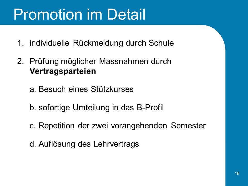 Promotion im Detail individuelle Rückmeldung durch Schule