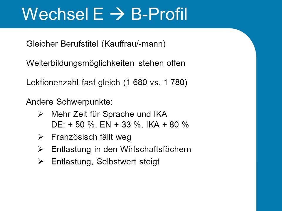 Wechsel E  B-Profil Gleicher Berufstitel (Kauffrau/-mann)