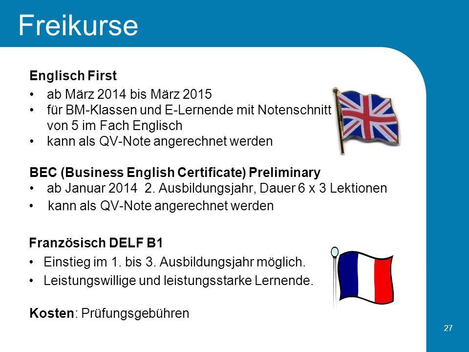 Freikurse Englisch First ab März 2014 bis März 2015