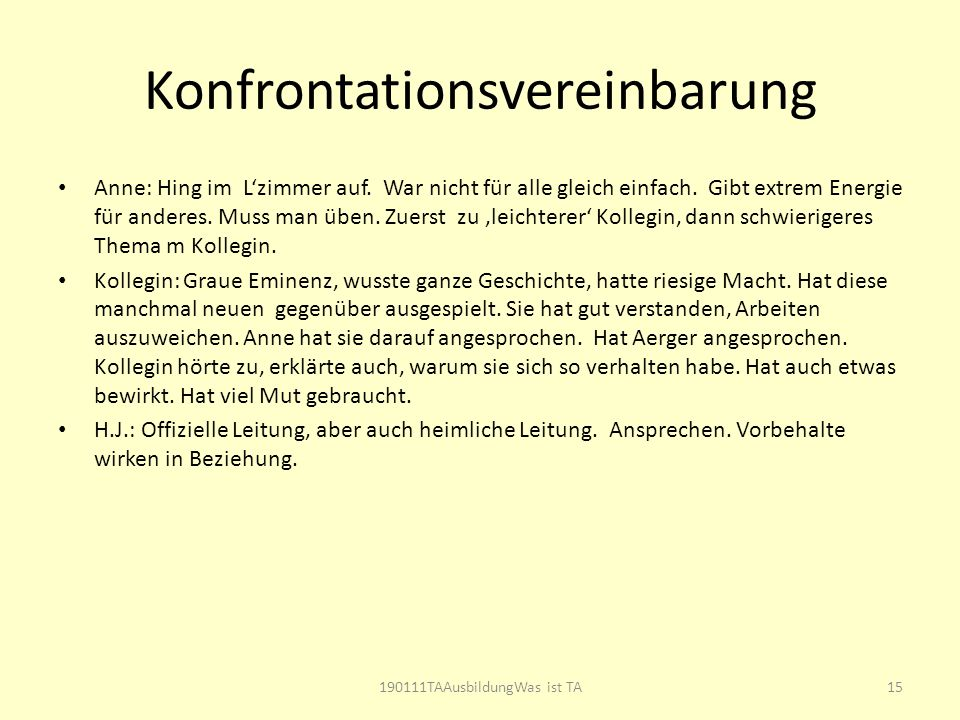 Konfrontationsvereinbarung