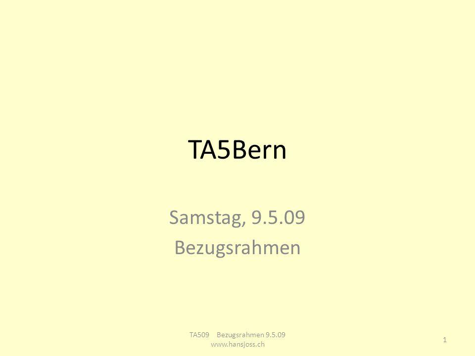 TA Ausbildungsgruppe Bern Samstag, 9.5.09 Bezugsrahmen