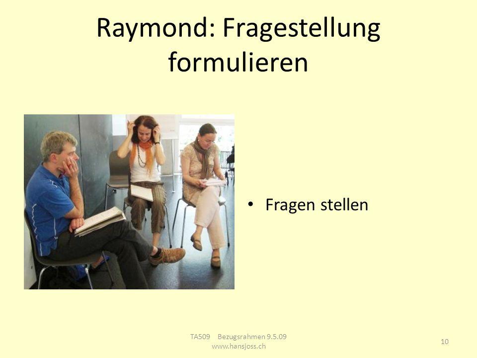 Raymond: Fragestellung formulieren