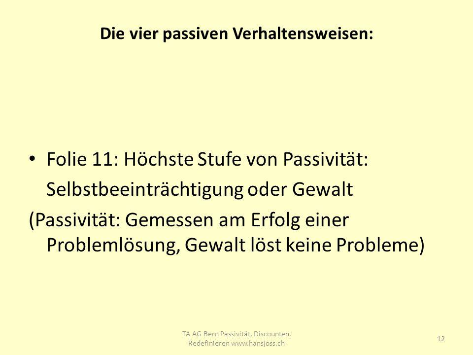 Die vier passiven Verhaltensweisen: