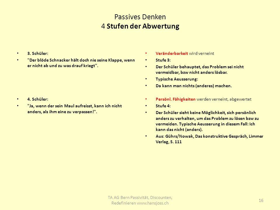 Passives Denken 4 Stufen der Abwertung