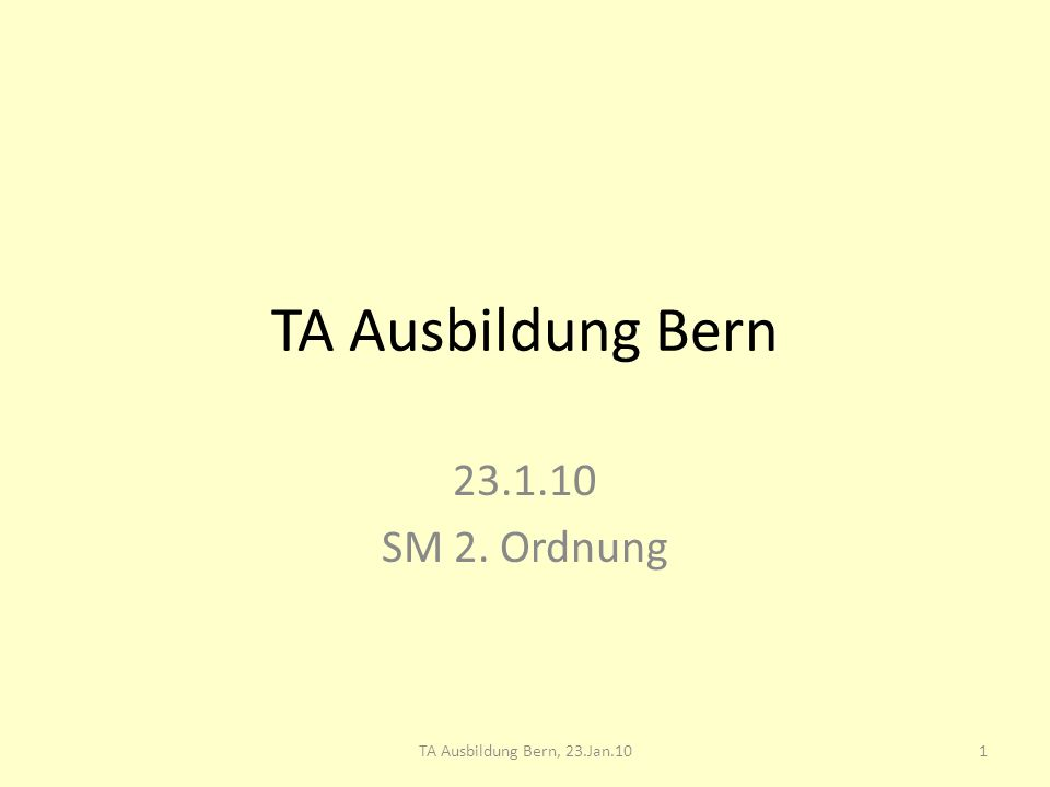 TA Ausbildung Bern, SM 2. Ordnung, 23.1.10 SM 2. Ordnung