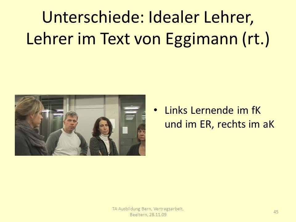 Unterschiede: Idealer Lehrer, Lehrer im Text von Eggimann (rt.)