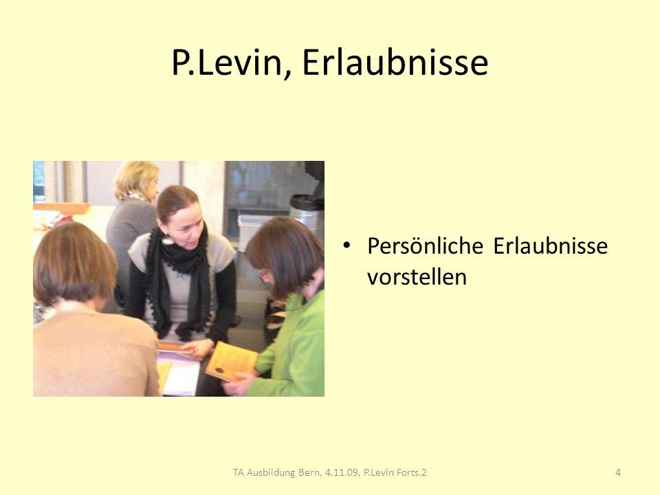 TA Ausbildung Bern, Pam Levin Forts. 4.11.09