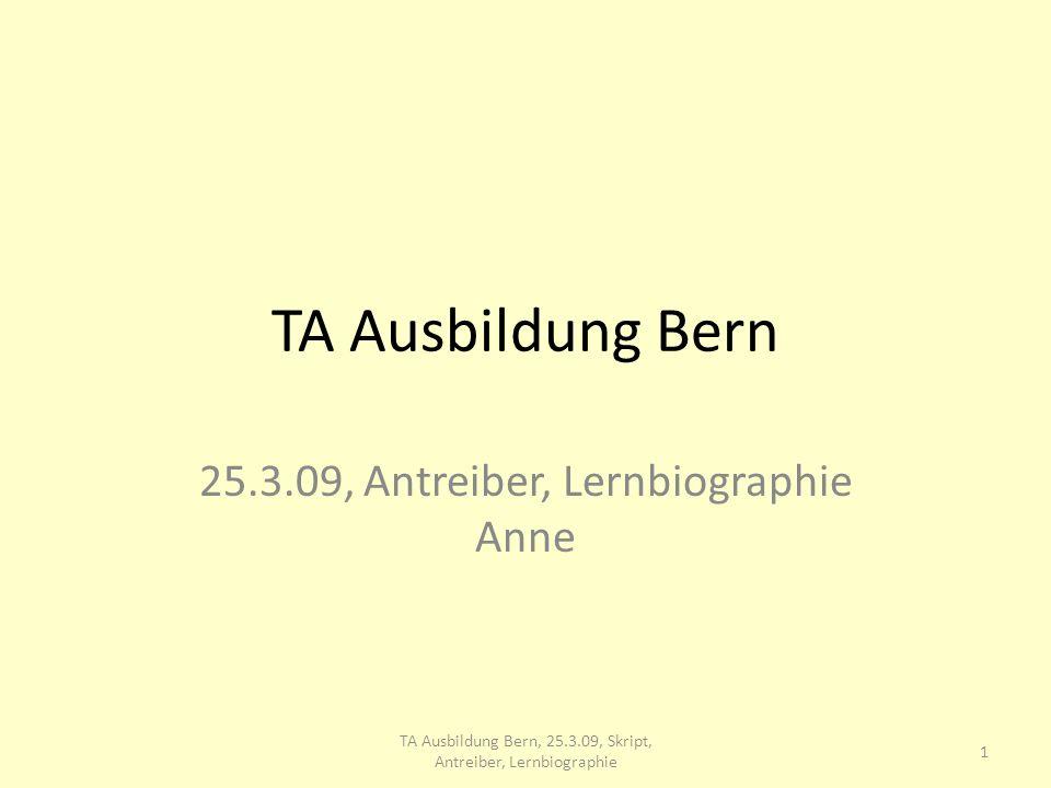 TA Ausbildung Bern 25.3.09, Antreiber, Lernbiographie Anne