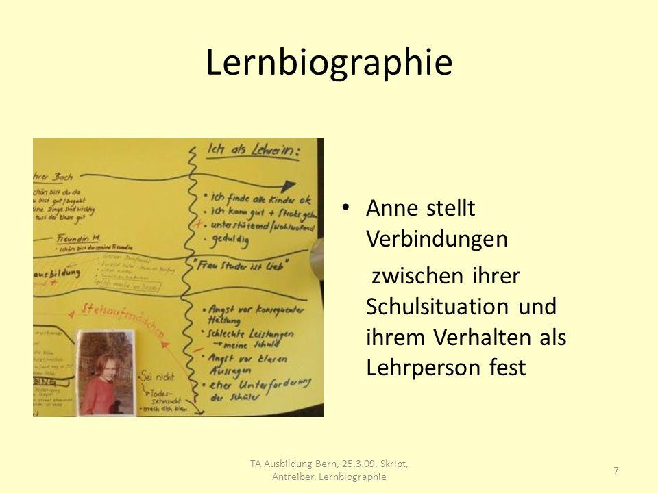 TA Ausbildung Bern, 25.3.09, Skript, Antreiber, Lernbiographie