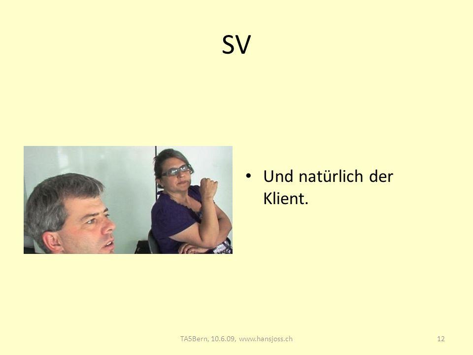 SV Und natürlich der Klient. TA5 Bern, 10.6.09: Supervision 28.03.2017