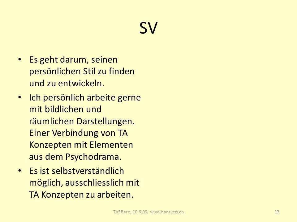 TA5 Bern, 10.6.09: Supervision 28.03.2017. SV. Es geht darum, seinen persönlichen Stil zu finden und zu entwickeln.