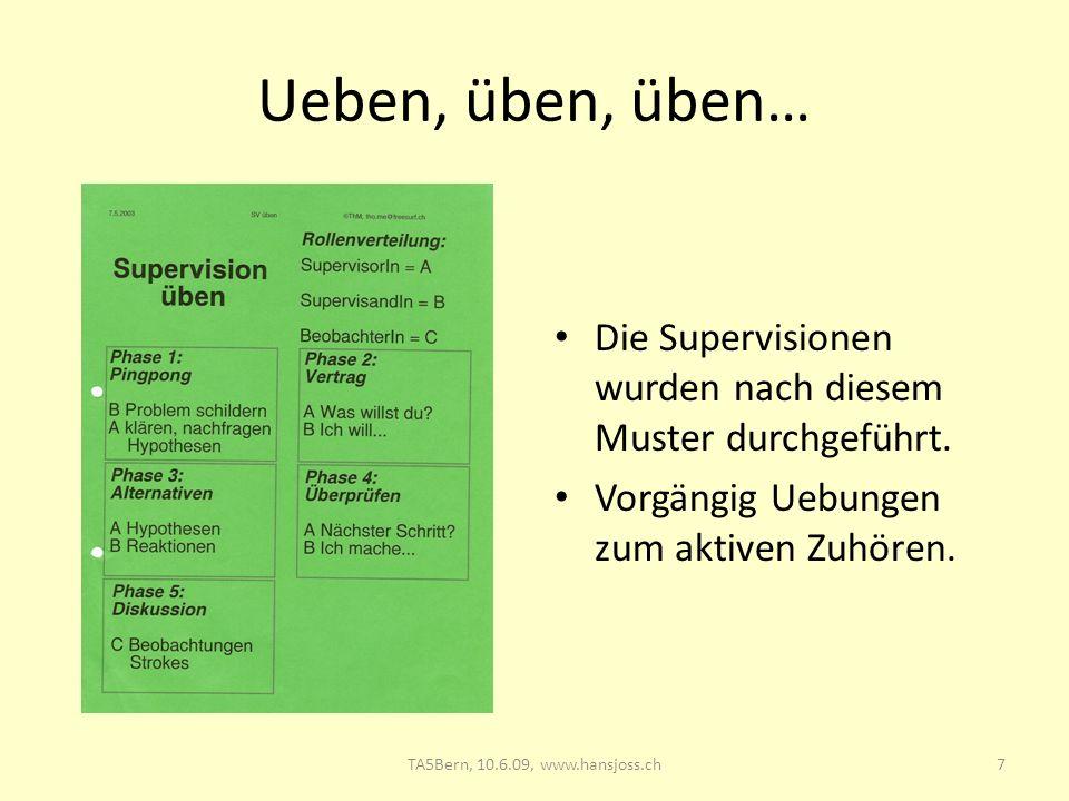 TA5 Bern, 10.6.09: Supervision 28.03.2017. Ueben, üben, üben… Die Supervisionen wurden nach diesem Muster durchgeführt.