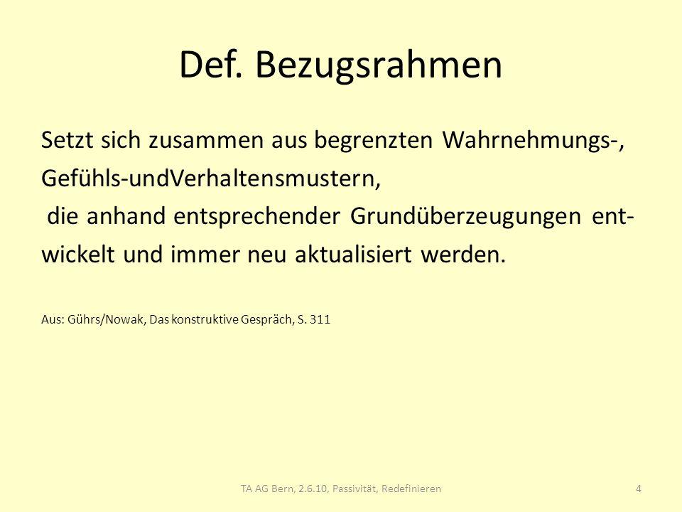 TA AG Bern, 2.6.10, Redefinieren, Passivität