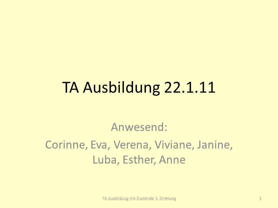 Anwesend: Corinne, Eva, Verena, Viviane, Janine, Luba, Esther, Anne