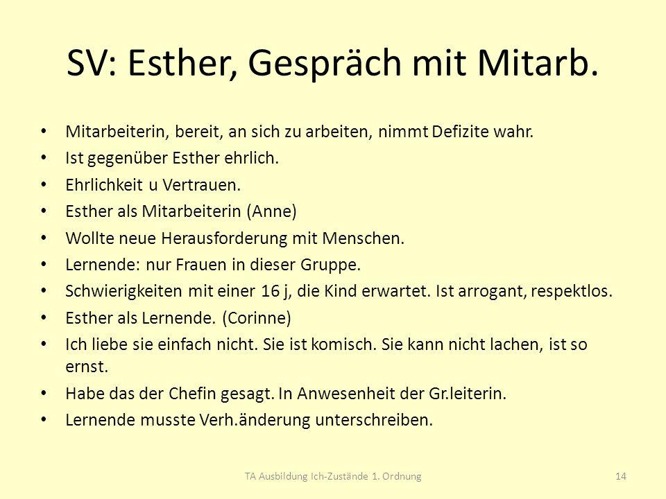 SV: Esther, Gespräch mit Mitarb.