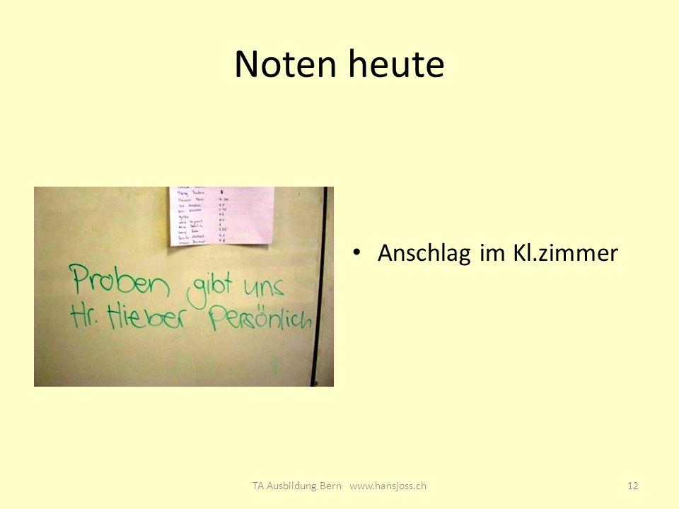 TA Ausbildung Bern www.hansjoss.ch